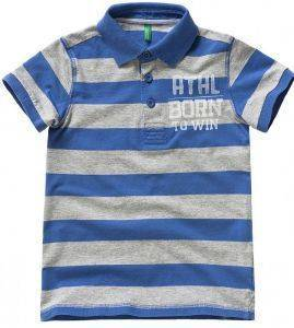 POLO T-SHIRT BENETTON FUN TK ΡΙΓΕ ΜΠΛΕ/ΓΚΡΙ